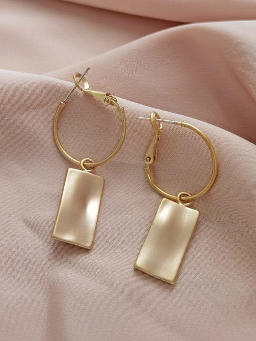 gold Brass Cats Eye Geometric Minimalist Huggie Earring
