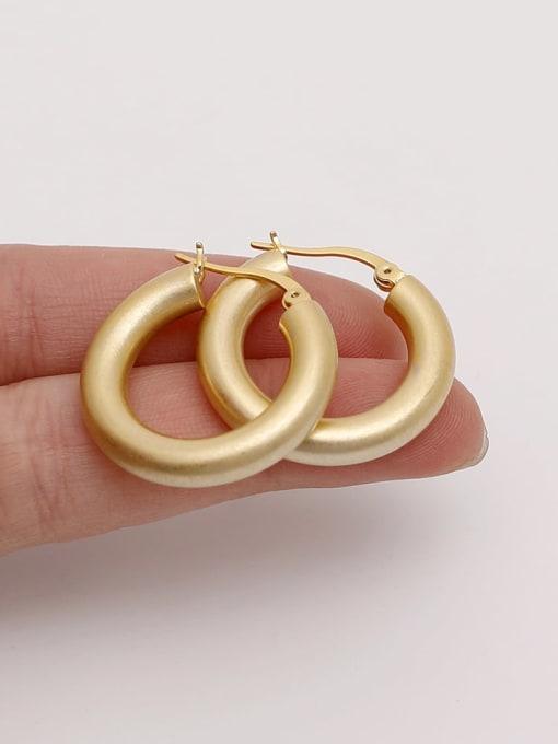 HYACINTH Brass  Smooth Geometric Vintage Hoop Earring 2
