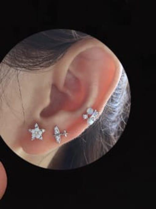 HISON Brass Cubic Zirconia Flower Hip Hop Stud Earring 1