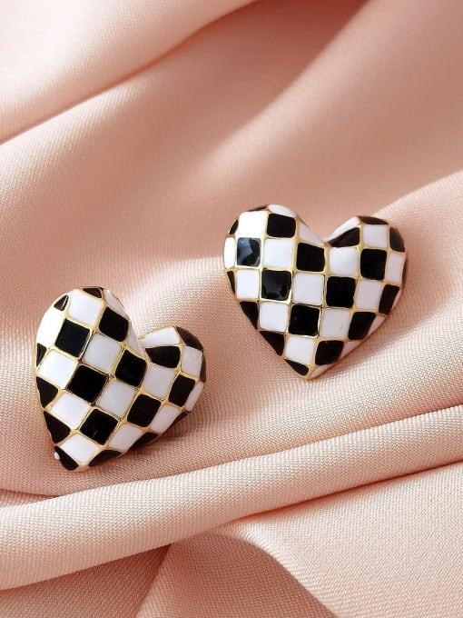 HYACINTH Brass Enamel Heart Vintage Stud Earring 2