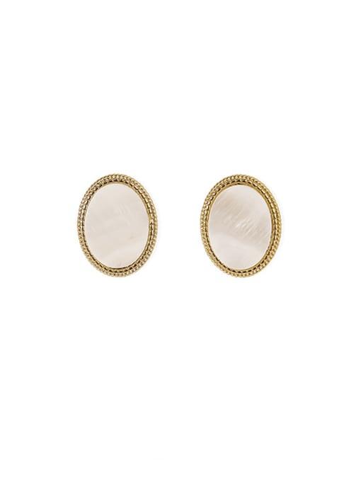 ACCA Brass Shell Geometric Vintage Stud Earring