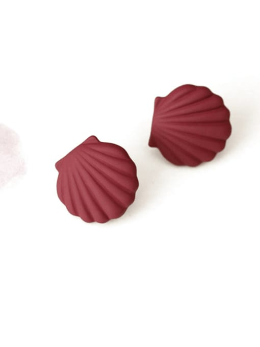 Dark red Alloy Enamel Geometric Shell Cute Stud Earring