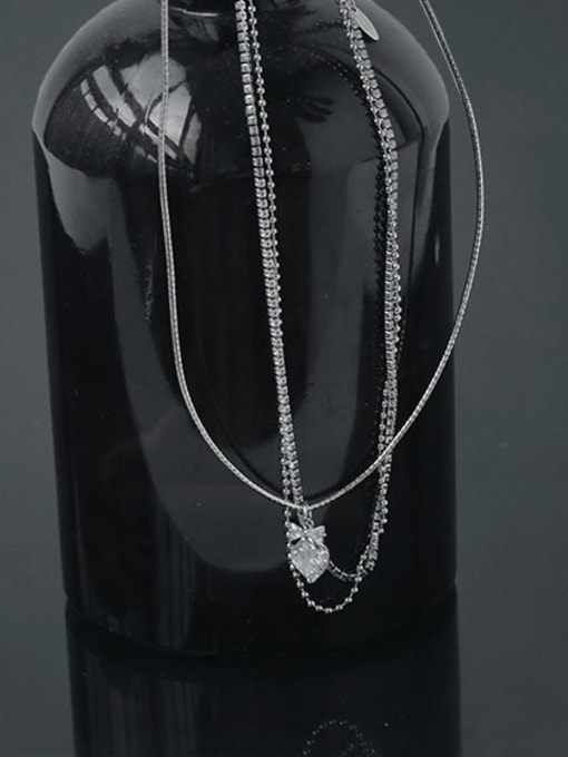 TINGS Brass Cubic Zirconia Water Drop Vintage Multi Strand Necklace 3