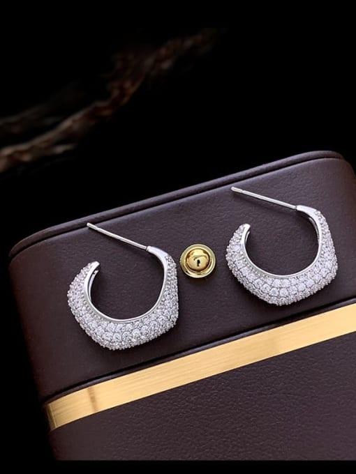 SUUTO Brass Cubic Zirconia Geometric Dainty Stud Earring 3