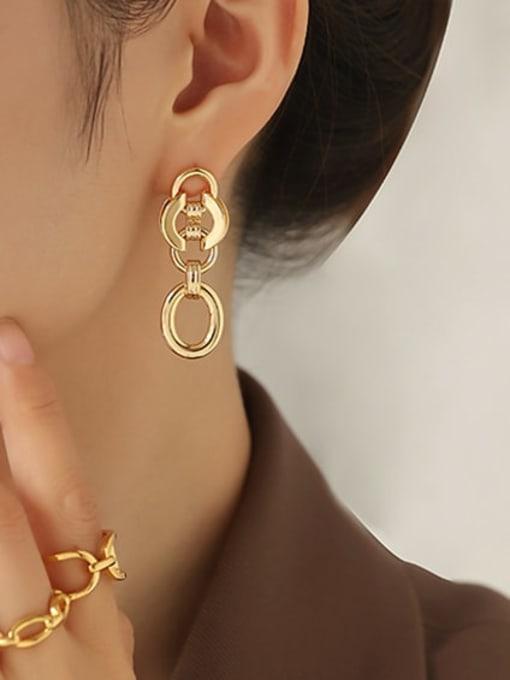 ACCA Brass Geometric Hip Hop Drop Earring 1