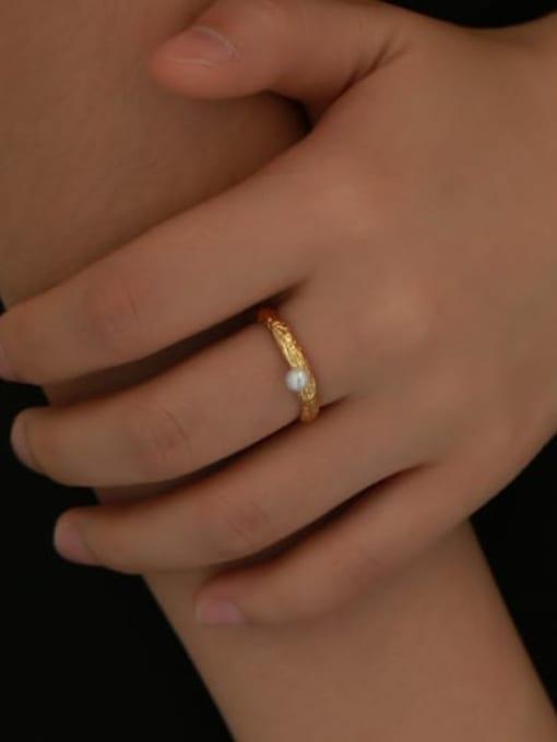Five Color Brass Imitation Pearl Irregular Vintage Band Ring 1