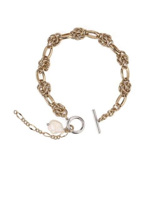 ACCA Brass Freshwater Pearl Geometric Vintage Bracelet