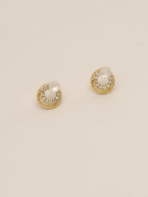 14K real gold Brass Imitation Pearl Round Ethnic Stud Earring