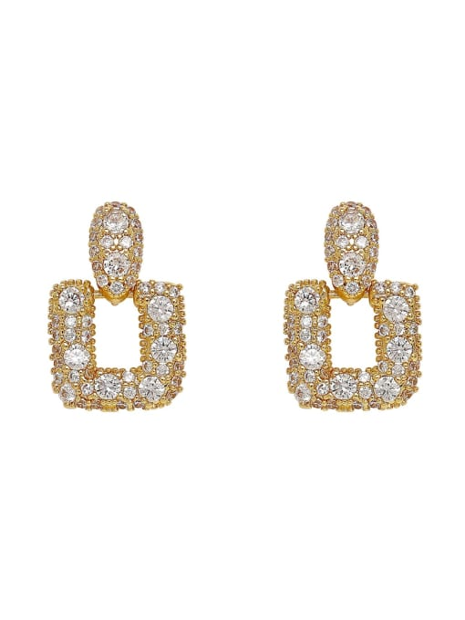 HYACINTH Brass Cubic Zirconia Geometric Luxury Drop Earring 0