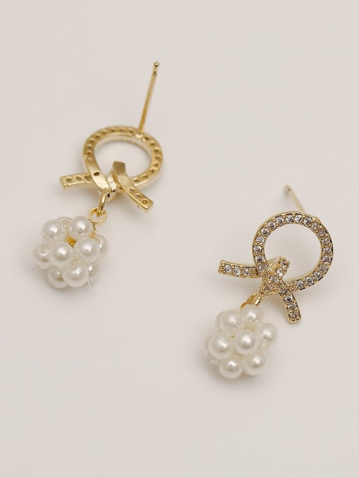 HYACINTH Brass Imitation Pearl Geometric Ethnic Drop Earring 2