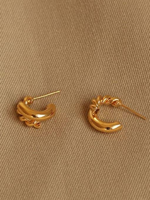 ACCA Brass Irregular Hip Hop Stud Earring 2