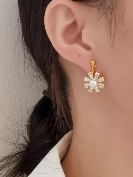 HYACINTH Brass Cubic Zirconia Flower Minimalist Drop Earring 1