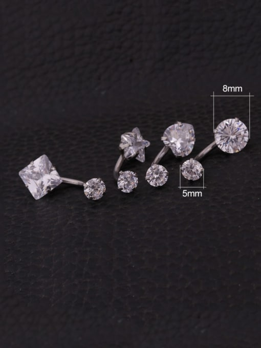 HISON Stainless steel Cubic Zirconia Star Hip Hop Stud Earring OR Belly Estuds 3