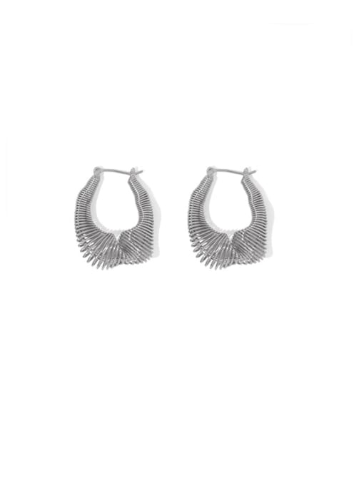 Platinum Brass Hollow Geometric Vintage Huggie Earring