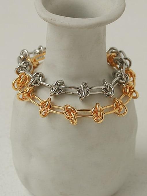 ACCA Brass Hollow Geometric Chain Hip Hop Link Bracelet 2