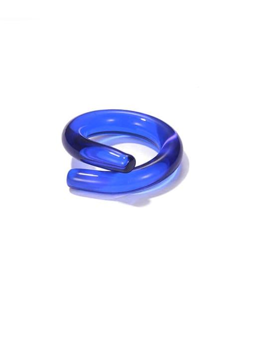 Blue ring Coloured Glaze Geometric Minimalist Band Ring