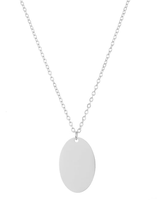 Desoto Titanium Steel Oval Minimalist Can be engraved Necklace 4