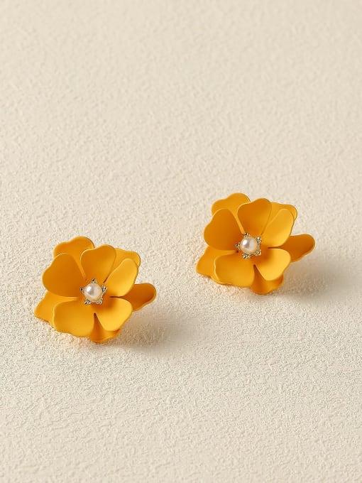 HYACINTH Brass Enamel Flower Cute Stud Trend Korean Fashion Earring
