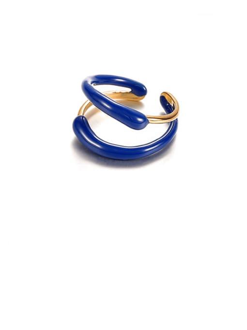 Blue oil dripping ring Brass Enamel Geometric Minimalist Stackable Ring