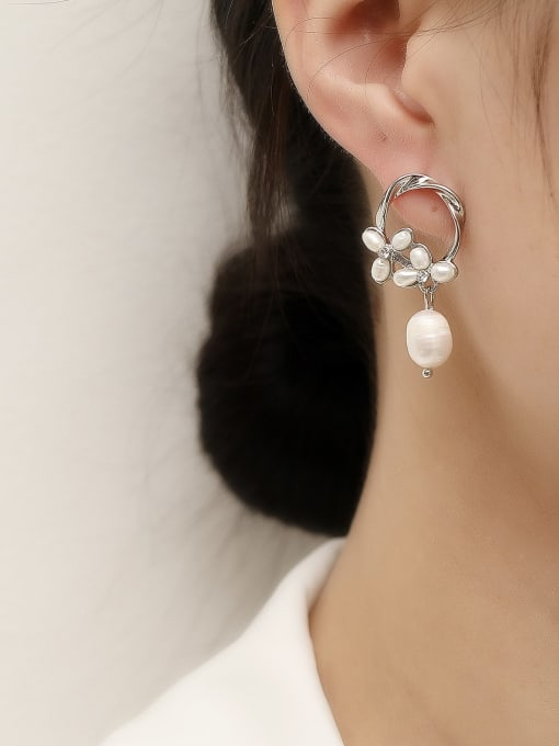 HYACINTH Brass Imitation Pearl Geometric Vintage Drop Trend Korean Fashion Earring 1