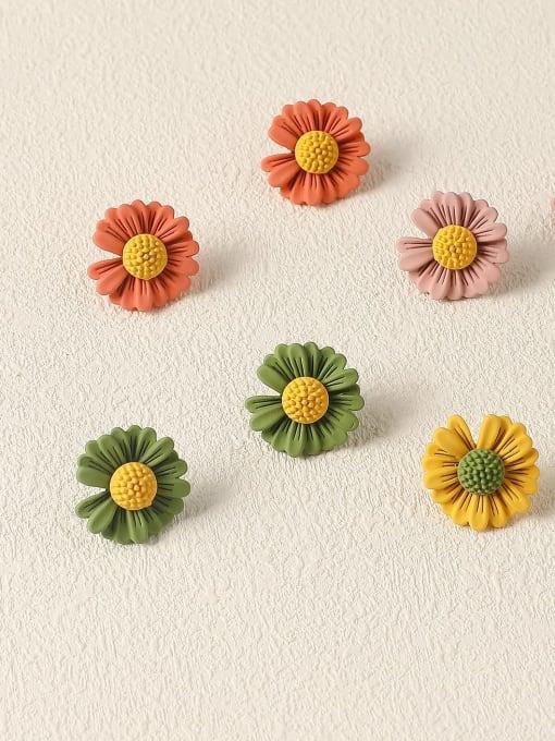 HYACINTH Brass Enamel Flower Cute Stud Earring