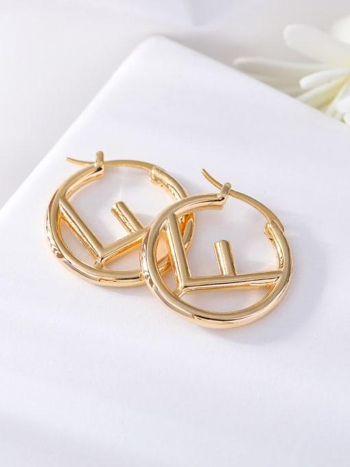 gold Brass Hollow Geometric Minimalist Huggie Earring