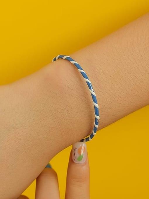 Five Color Zinc Alloy Enamel Geometric Minimalist Cuff Bangle 2