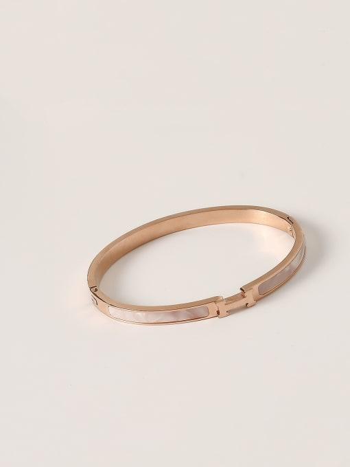 rose gold Stainless steel Shell Geometric Minimalist Band Bangle
