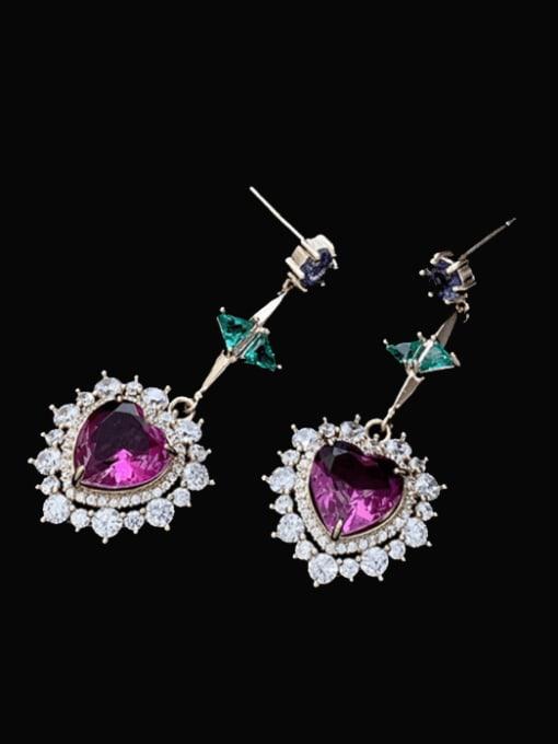 SUUTO Brass Cubic Zirconia Heart Luxury Drop Earring