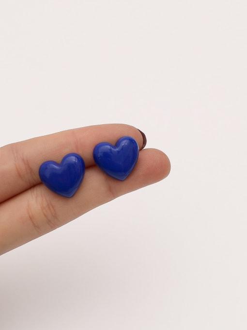 HYACINTH Brass Enamel Heart Minimalist Stud Earring 2