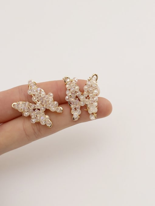 HYACINTH Brass Crystal Butterfly Ethnic Stud Earring