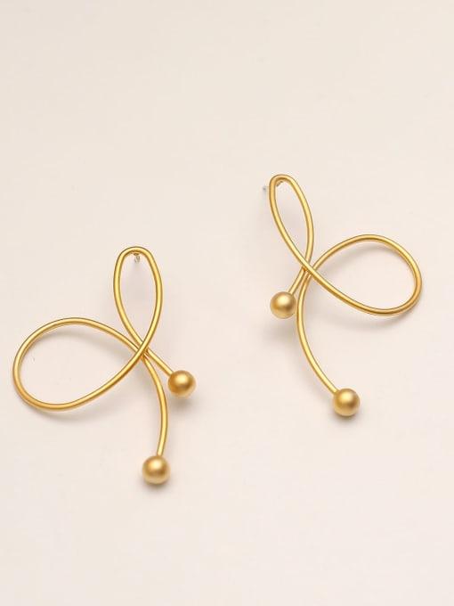 HYACINTH Brass Imitation Pearl Butterfly Minimalist Stud Earring 0