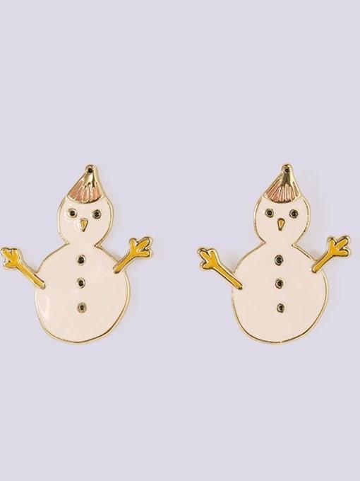 Five Color Alloy Enamel Asymmetry Deer Snowman Cute Stud Earring 2