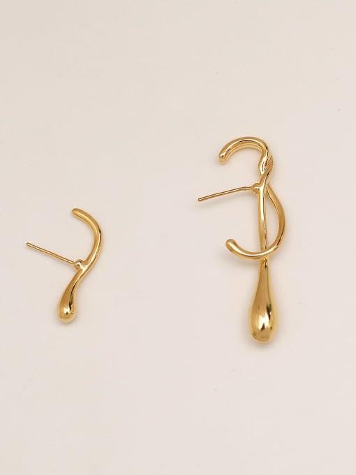 HYACINTH Brass Asymmetry  Irregular Vintage Stud Earring 3