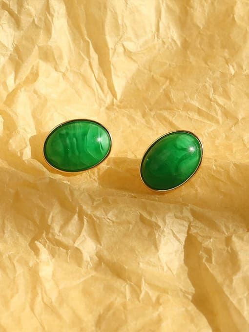 14K golden green Brass Resin Geometric Vintage Stud Earring
