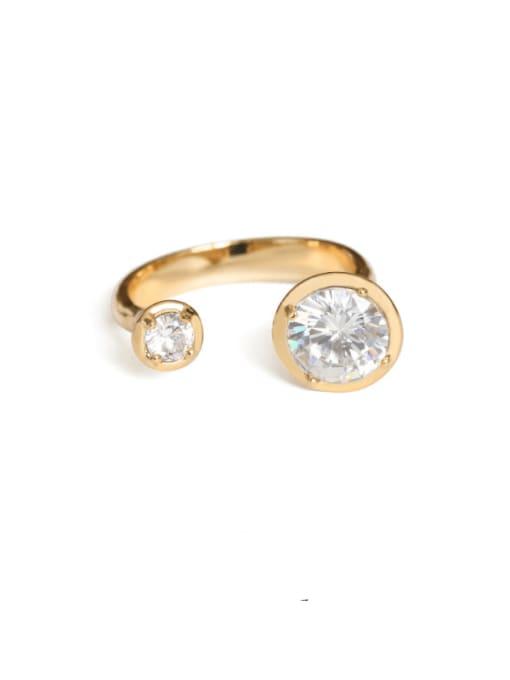 Five Color Brass Rhinestone Geometric Minimalist Band Ring