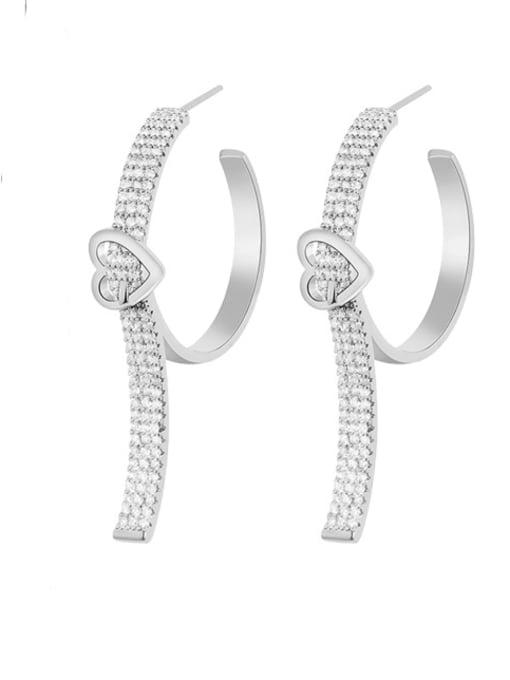 OUOU Brass Cubic Zirconia Heart Statement Huggie Earring
