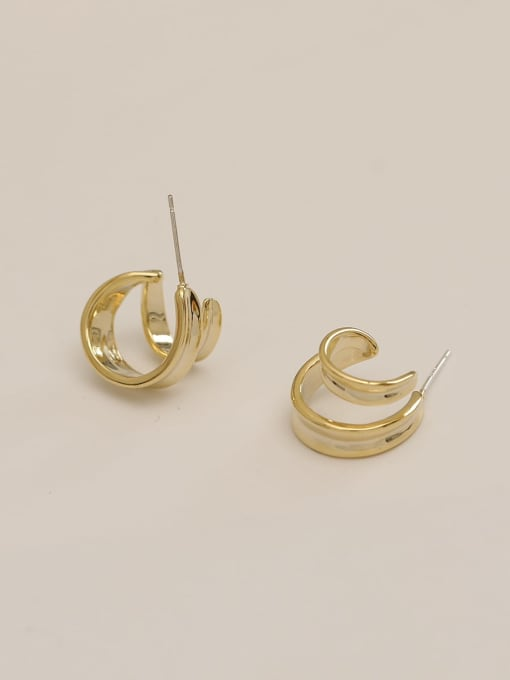 14k Gold (without drill money) Brass Irregular Vintage Stud Earring