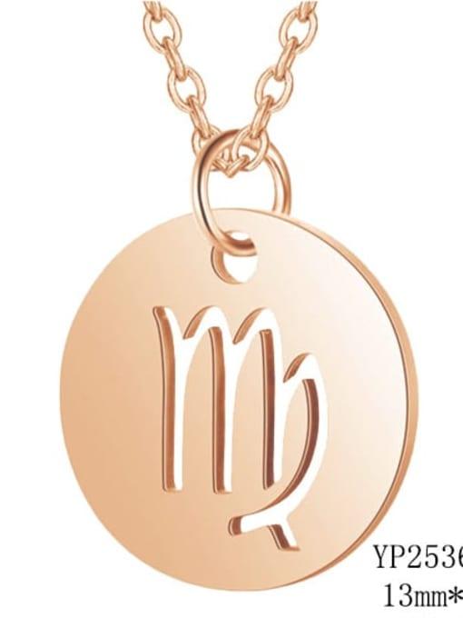 Virgo rose gold Titanium Steel Constellation Minimalist  Round Pendant Necklace