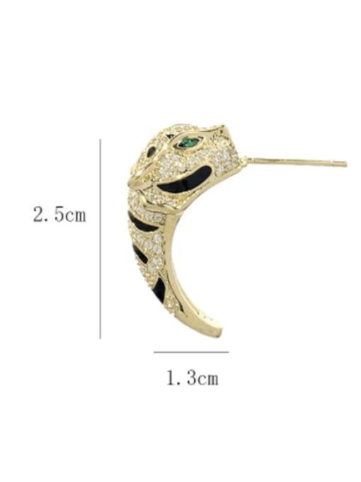 SUUTO Brass Cubic Zirconia Leopard Cute Stud Earring 2