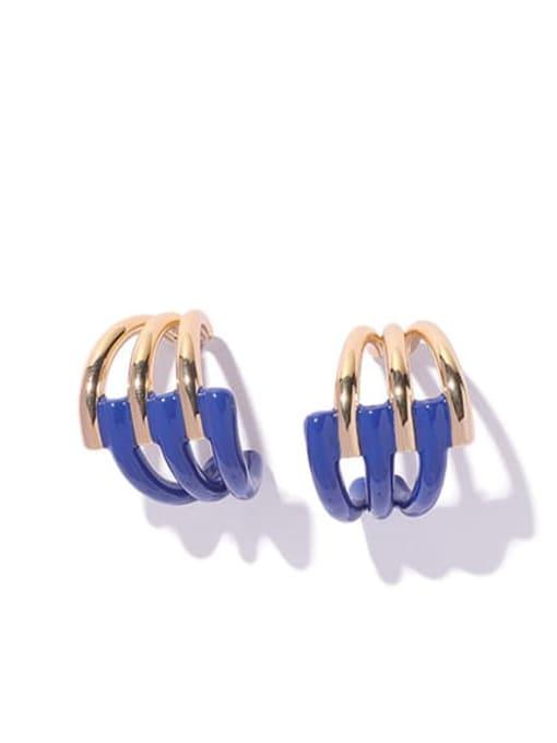 Blue oil dripping Earrings Brass Enamel Geometric Minimalist Stud Earring