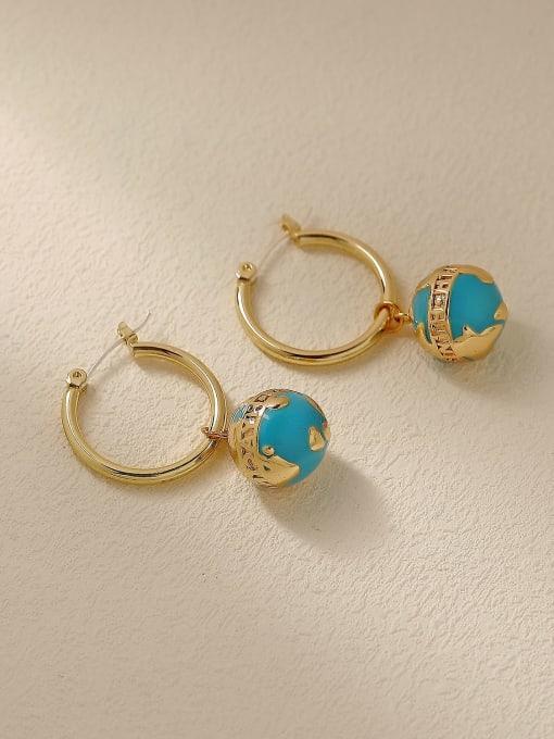 HYACINTH Brass Enamel Round Ball Vintage Huggie Trend Korean Fashion Earring