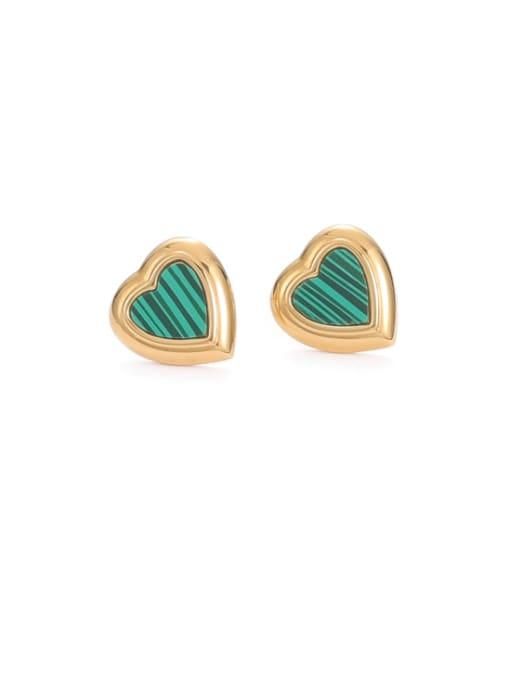 Heart Shaped Earrings Brass Enamel Heart Minimalist Stud Earring