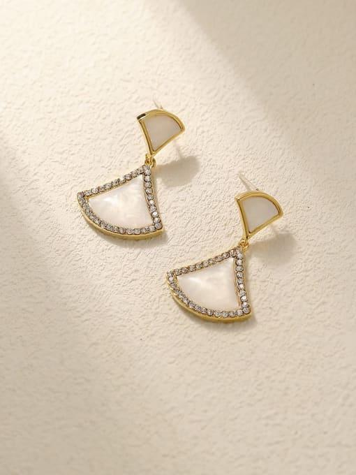 HYACINTH Brass Shell Geometric Vintage Drop Earring 3