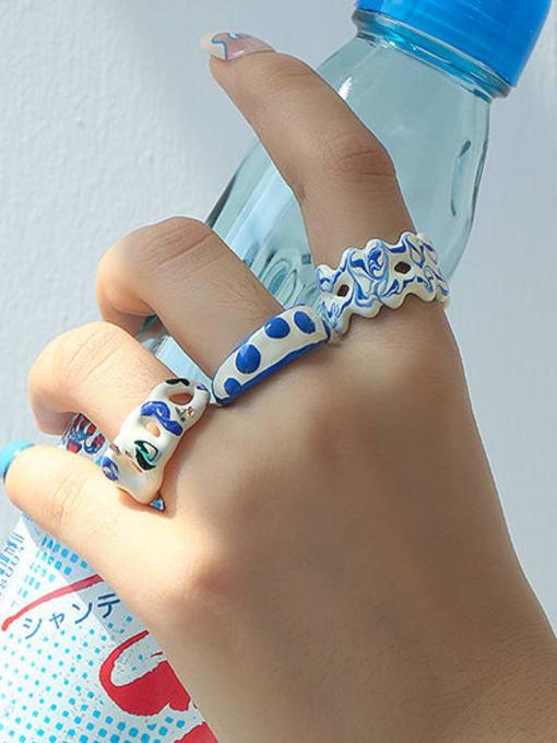 Five Color Zinc Alloy Enamel Irregular Minimalist Band Ring 2