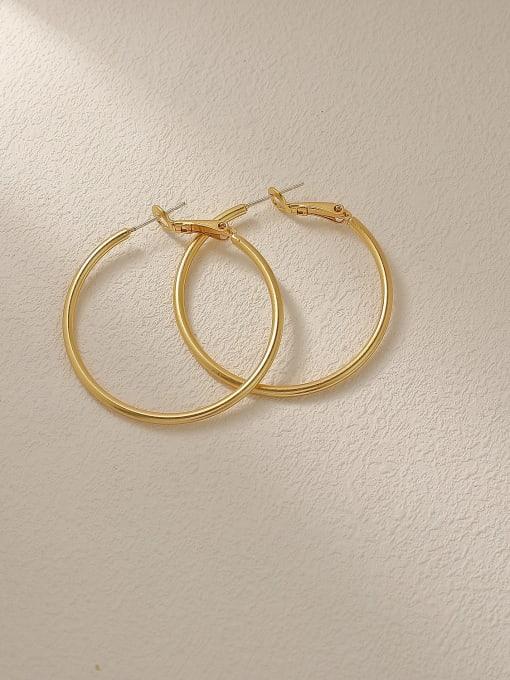 Nostalgic gold Brass Geometric Minimalist Hoop Trend Korean Fashion Earring
