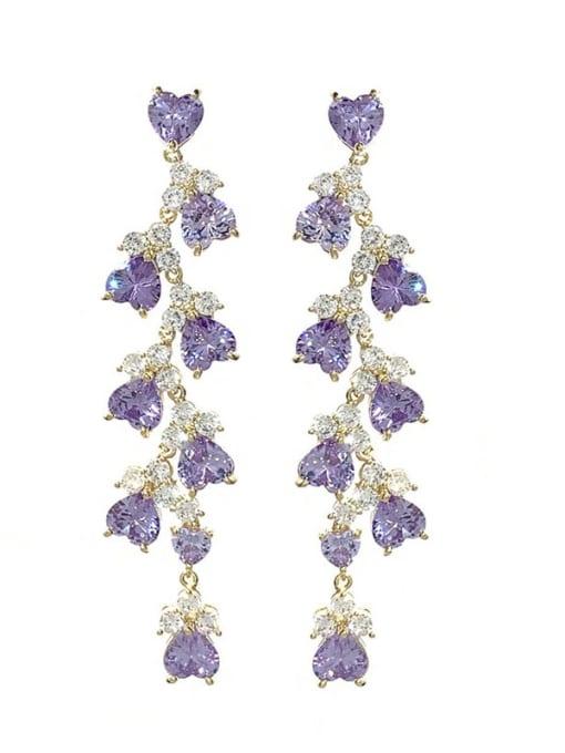 purple Brass Cubic Zirconia Irregular Statement Drop Earring