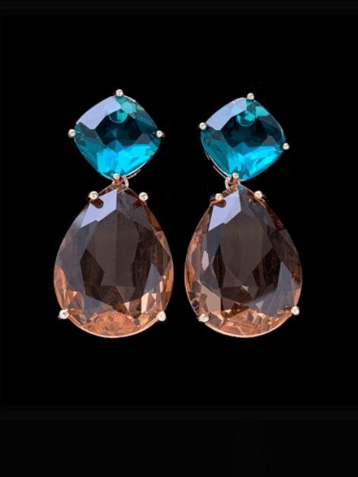 SUUTO Brass Glass Stone Water Drop Luxury Drop Earring