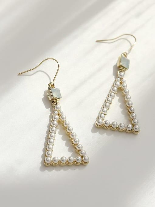 HYACINTH Brass Imitation Pearl Triangle Vintage Hook Earring 0