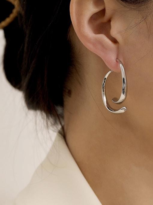 HYACINTH Brass Smooth Geometric Minimalist Drop Earring 2